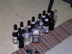 Beer and Whiskey Bottles