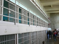 Prison corridor with cells inside Alcatraz main building san francisco califfornia